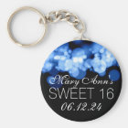 Sweet 16 Birthday Party Blue Bokeh Lights Key Ring