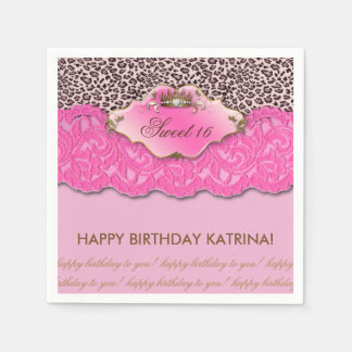 Sweet 16 Birthday Party Crown Leopard Pink Paper Napkin