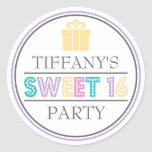 Sweet 16 Birthday Party Favour Sticker