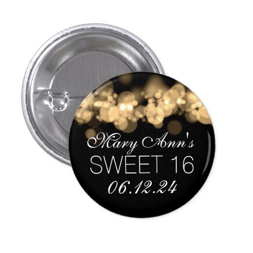 Sweet 16 Birthday Party Gold Bokeh Lights Pinback Buttons