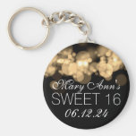 Sweet 16 Birthday Party Gold Bokeh Lights Basic Round Button Key Ring