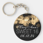 Sweet 16 Birthday Party Gold Bokeh Lights Key Ring