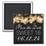 Sweet 16 Birthday Party Gold Bokeh Lights Square Magnet