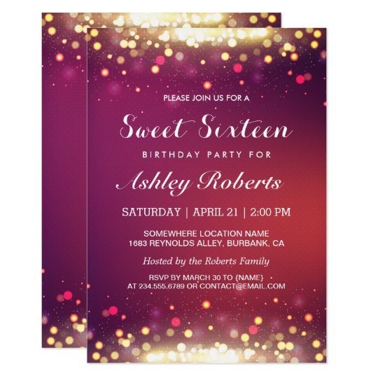Sweet 16 Birthday Party Gold Shimmer Sparkles Invitation