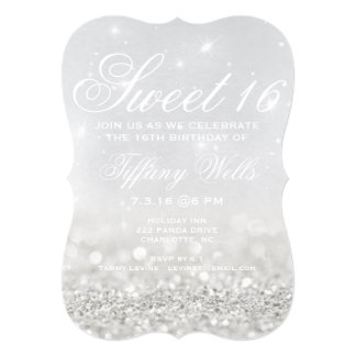 "Sweet 16 Birthday Party Invite | Glitter Night 5"" X 7"" Invitation Card"