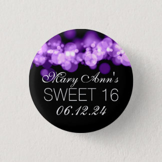 Sweet 16 Birthday Party Purple Bokeh Lights 3 Cm Round Badge