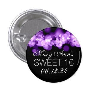 Sweet 16 Birthday Party Purple Bokeh Lights Pinback Button