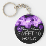 Sweet 16 Birthday Party Purple Bokeh Lights Basic Round Button Key Ring