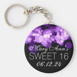 Sweet 16 Birthday Party Purple Bokeh Lights Key Ring