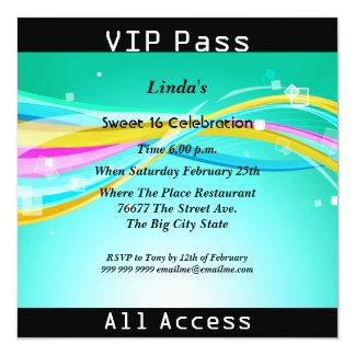 Sweet 16 Birthday Party VIP pass Disco 2 13 Cm X 13 Cm Square Invitation Card