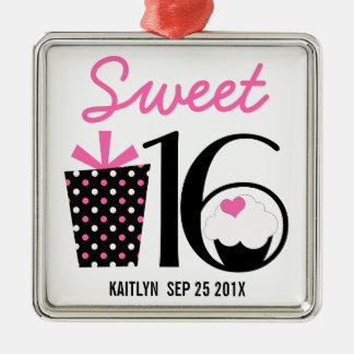 Sweet 16 Birthday personalized Keepsake Silver-Colored Square Decoration