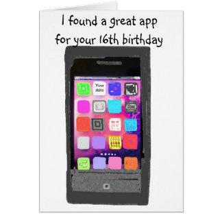 Sweet 16 Birthday Phone App Humor Card