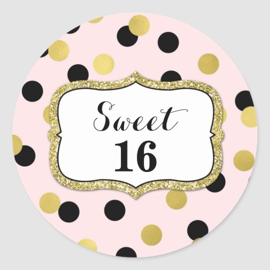 Sweet 16 Birthday Pink Black Gold Confetti Classic