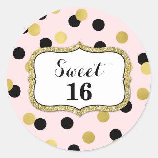 Sweet 16 Birthday Pink Black Gold Confetti Round Sticker