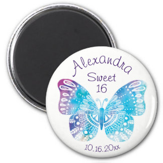 Sweet 16 Birthday Plum Blue Butterfly Dated Round Magnet