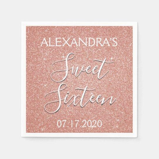 Sweet 16 Birthday Rose Gold Blush Pink Glitter Disposable Serviettes