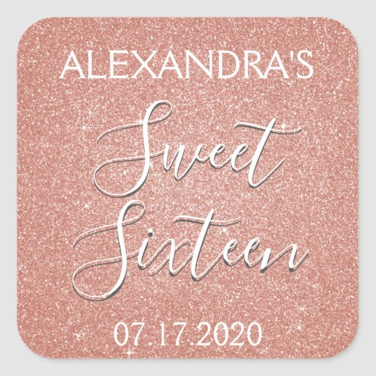 Sweet 16 Birthday Rose Gold Blush Pink Glitter Square Sticker