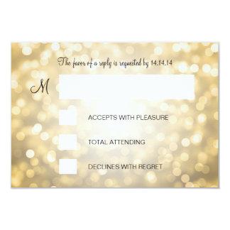 Sweet 16 Birthday RSVP Gold Glitter Lights 9 Cm X 13 Cm Invitation Card