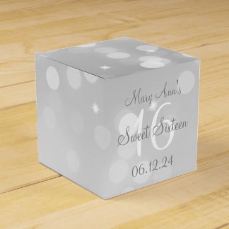 Sweet 16 Birthday Silver Bokeh Sparkle Light Favour Box
