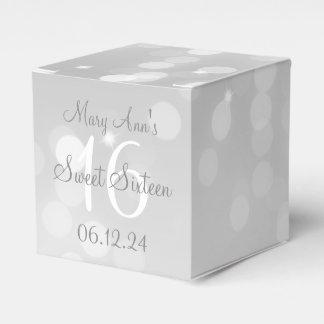 Sweet 16 Birthday Silver Bokeh Sparkle Light Wedding Favour Box