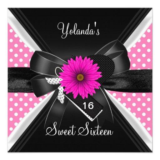 Sweet 16 Birthday Spot Polka Dot  Black White Pink Custom Invites