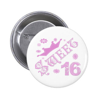 Sweet 16 Birthday With Crown Pinback Button