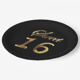 Sweet 16 Black and Gold Look Typography Elegant Paper Plate