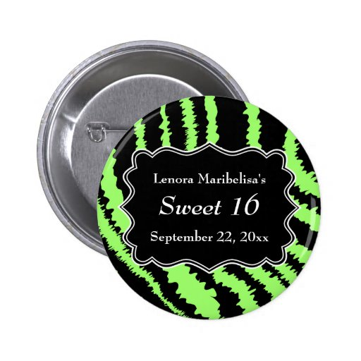 Sweet 16 Black and Lime Green Zebra Pattern Pinback Buttons