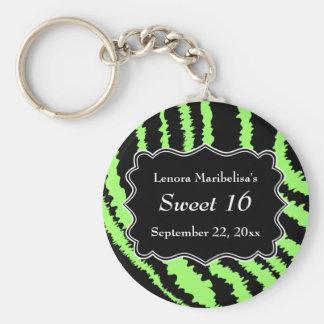 Sweet 16 Black and Lime Green Zebra Pattern Key Ring