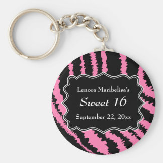 Sweet 16 Black and Pink Zebra Pattern Basic Round Button Key Ring