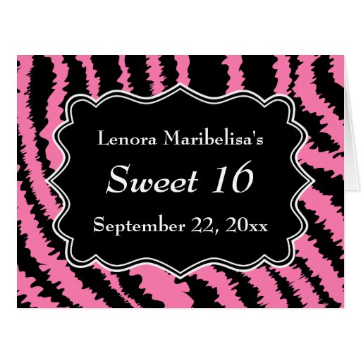 Sweet 16 Black and Pink Zebra Pattern Greeting Cards
