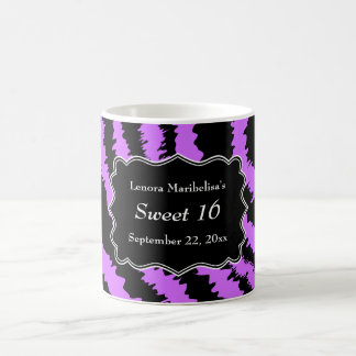Sweet 16 Black and Purple Zebra Pattern Basic White Mug