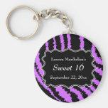 Sweet 16 Black and Purple Zebra Pattern Basic Round Button Key Ring