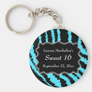 Sweet 16 Black and Turquoise Zebra Pattern Key Ring