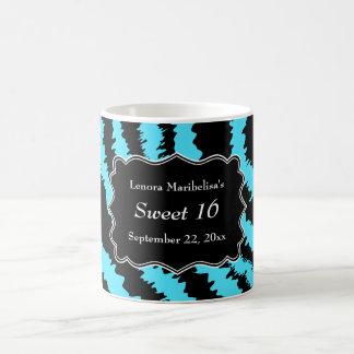 Sweet 16 Black and Turquoise Zebra Pattern Coffee Mug