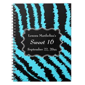 Sweet 16 Black and Turquoise Zebra Pattern Notebook