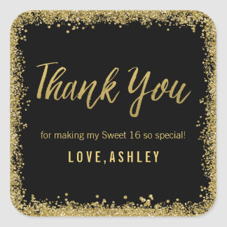 Sweet 16 Black Gold Glitter Birthday Favors Square Sticker