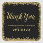 Sweet 16 Black Gold Glitter Birthday Favours Square Sticker