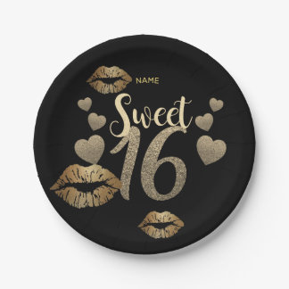 Sweet 16 Black Gold Glitter Personalized Paper Plate