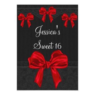 Sweet 16 Black Grey Flowers Red Bows Birthday 3 13 Cm X 18 Cm Invitation Card