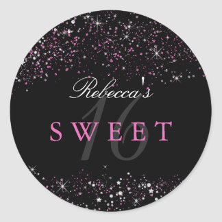 Sweet 16 Black Pink Sparkle Glitter Sticker