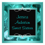 Sweet 16 Black Teal Bubbles Metal  Frame Party Custom Announcement