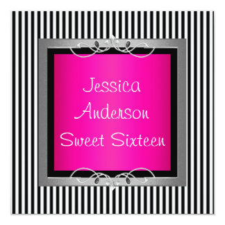 Sweet 16 Black & White Stripe Pink Silver Party 13 Cm X 13 Cm Square Invitation Card