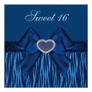 Sweet 16 Blue Animal Print Jewel Heart Invites