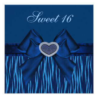 Sweet 16 Blue Animal Print & Jewel Heart Invites