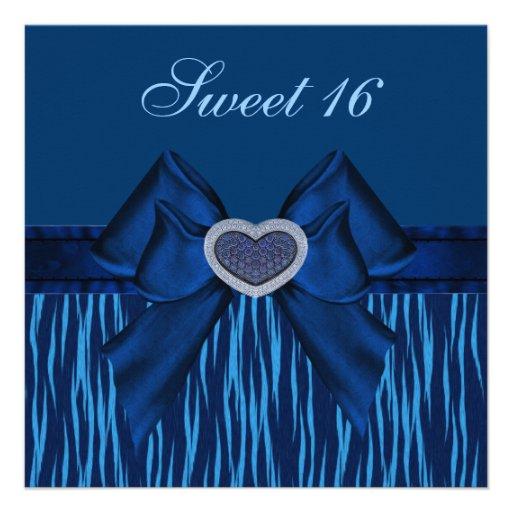Sweet 16 Blue Animal Print & Jewel Heart Invites