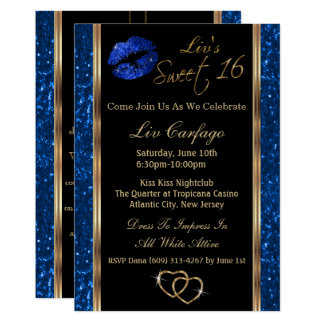 Sweet 16 Blue Glitter Card