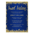 Sweet 16 Blue Gold Glitter Birthday Card