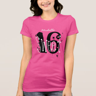 Sweet 16 Custom Name Birthday Gift Grunge Text V01 T-Shirt
