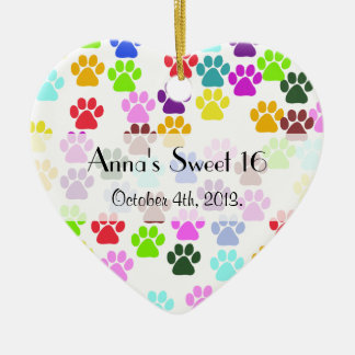 Sweet 16 - Dog Paws, Paw-prints - Red Blue Green Christmas Ornament